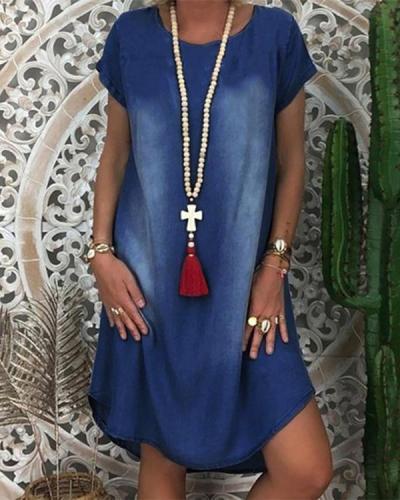 Women's Denim Dress Knee Length Dress