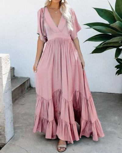 Women Vacation Casual Short Sleeve Maxi Dress