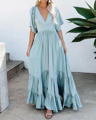 Women Vacation Casual Short Sleeve Maxi Dress