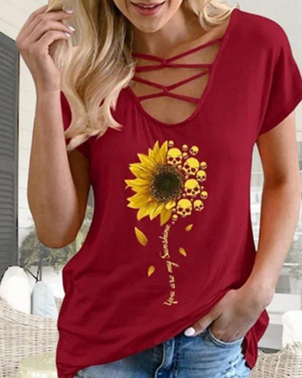 Skull Sunflower Print Casual Short Sleeve T-shirt