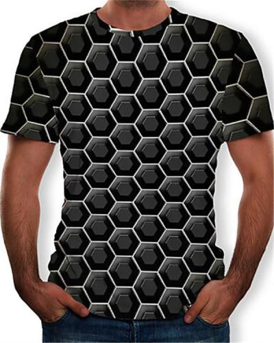 Men's T-shirt - Color Block / 3D / Graphic Print Round Neck