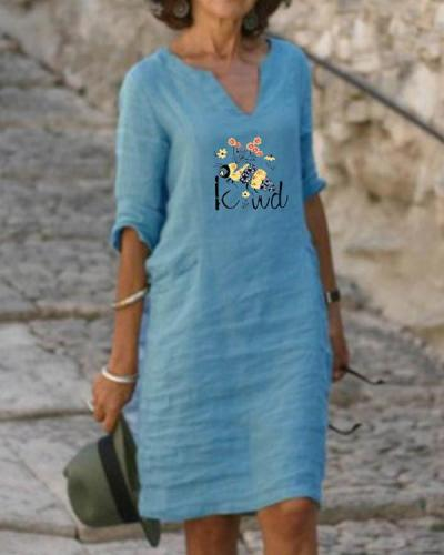 Plus Size Casual Print Half Sleeves Dresses