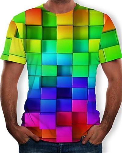 Men's Cotton Geometric Colorful 3D Print Round Neck Rainbow T-shirt