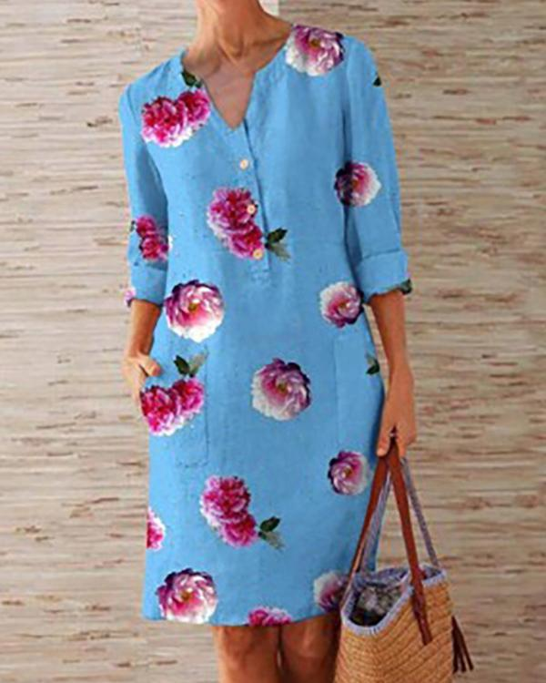 Plus Size Casual Flower Print 1/2 Sleeve Dresses