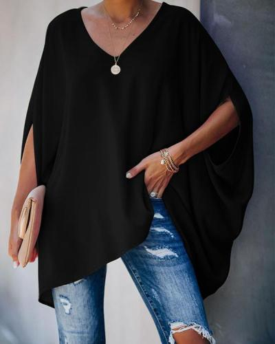 Women Solid Color Half Sleeve Loose Blouses