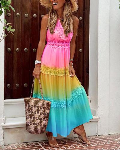 Summer Tie Dye Ombre Sleeveless Holiday Dress