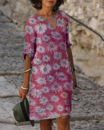 Plus Size Casual Floral Half Sleeves Dresses