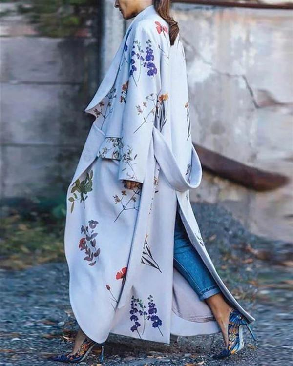 Floral Gown Long Sleeve Fashionable Outwear Coat
