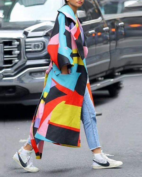 Fashion Geometric Color Printed Coat