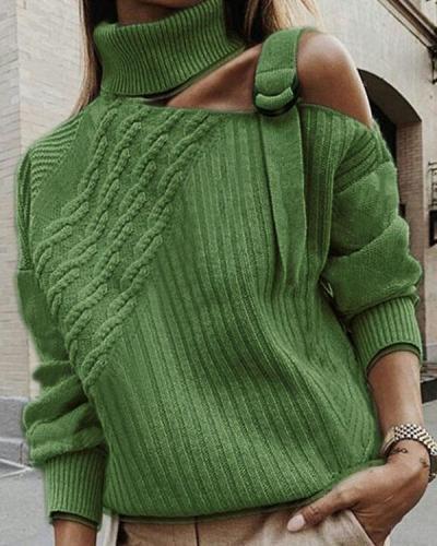 Plus Size Plain Long Sleeve Casual Sweater
