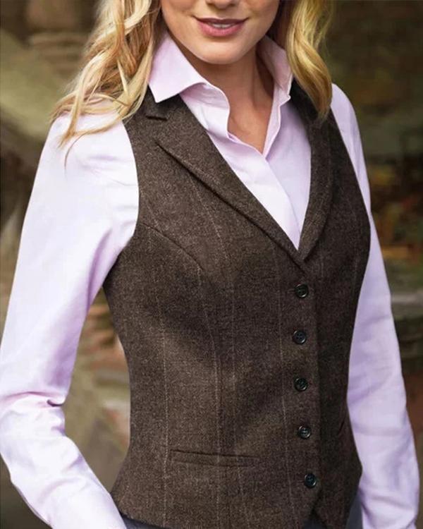 Gingham Lapel Buttoned Sleeveless Jacket