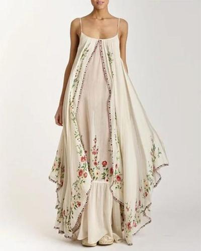 Plus Size Bohemian Embroidered Sleeveless Summer Suspender Dress