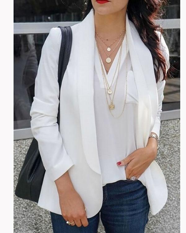 Commuting Suit Collar Long Sleeve Pure Colour Coats