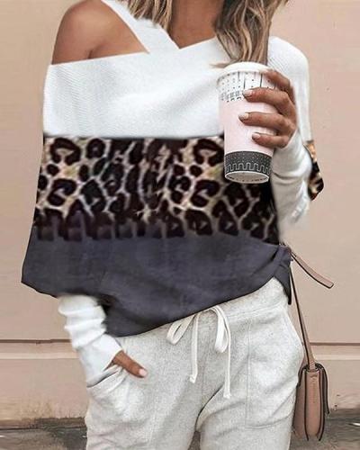 Color Block Leisure Leopard Loose Off Shoulder Tops