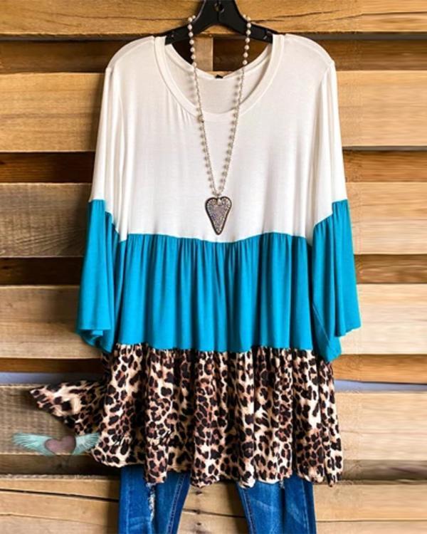 Women Print Long Sleeve Loose Casual Blouses