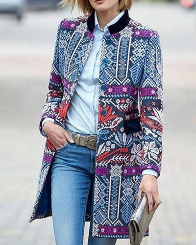 Patchwork Ethnic Print Long Sleeve Vintage Jacket