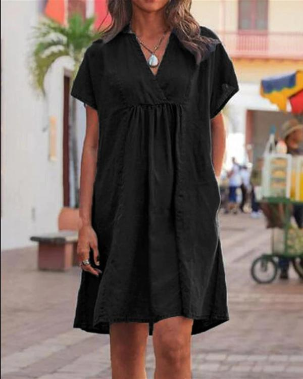 Casual V Neck Solid Woman Linen Dresses