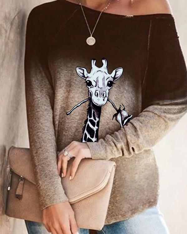 Autumn Ombre Animal Print Long Sleeve Loose T-Shirt