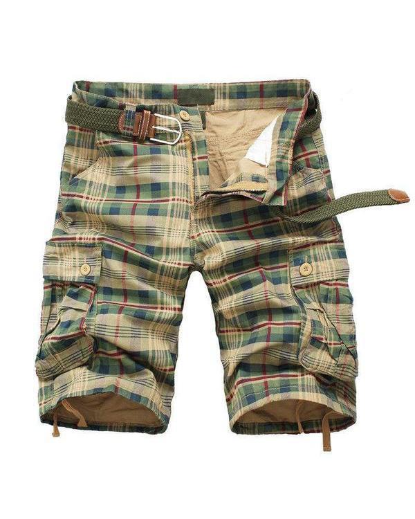 Men Summer Plaid Beach Shorts Casual Cargo Multi-Pocket Shorts