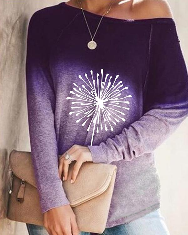 Autumn Ombre Print Long Sleeve Loose T-Shirt