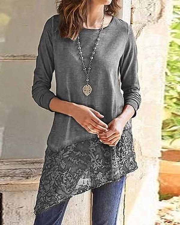 Spring Autumn Lace Stitching Women's T-shirts