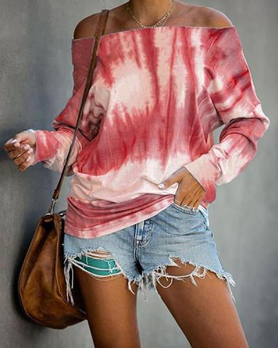 Tie Dye Off Shoulder Long Sleeve Loose Tops