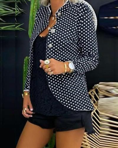 Fashion Band Collar Polka Dot Blazers Outwears