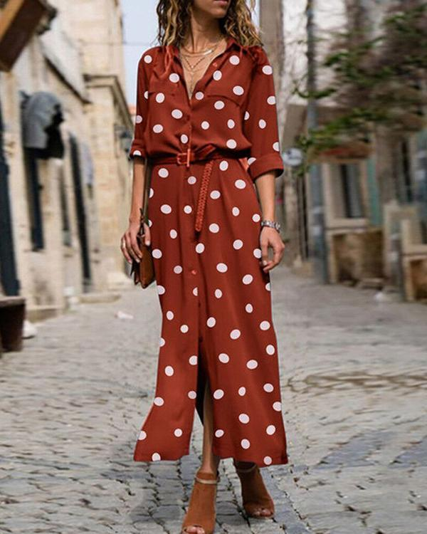 Polka Dot Print Women Casual Midi Dress