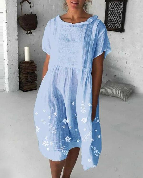 Doll Collar Floral Cotton Casual Buttoned Dresses