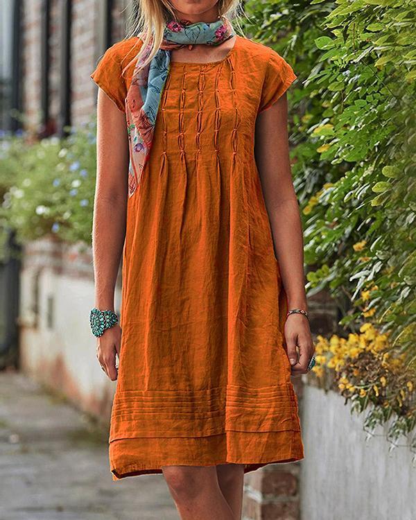 Vintage Casual Solid Linen Women Dresses