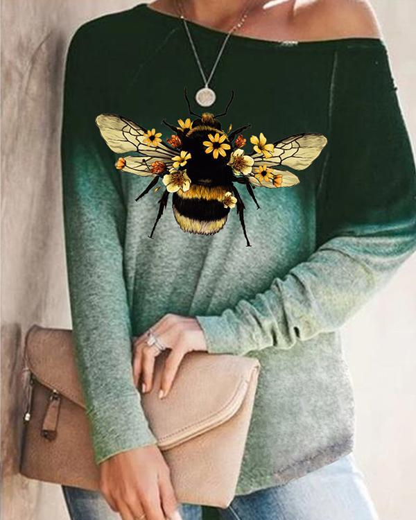 Autumn Ombre Bee Print Long Sleeve Loose T-Shirt
