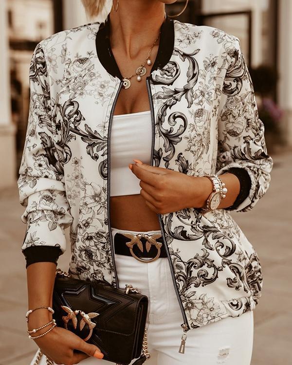 Casual Long Sleeve Printed Cropped Jacket