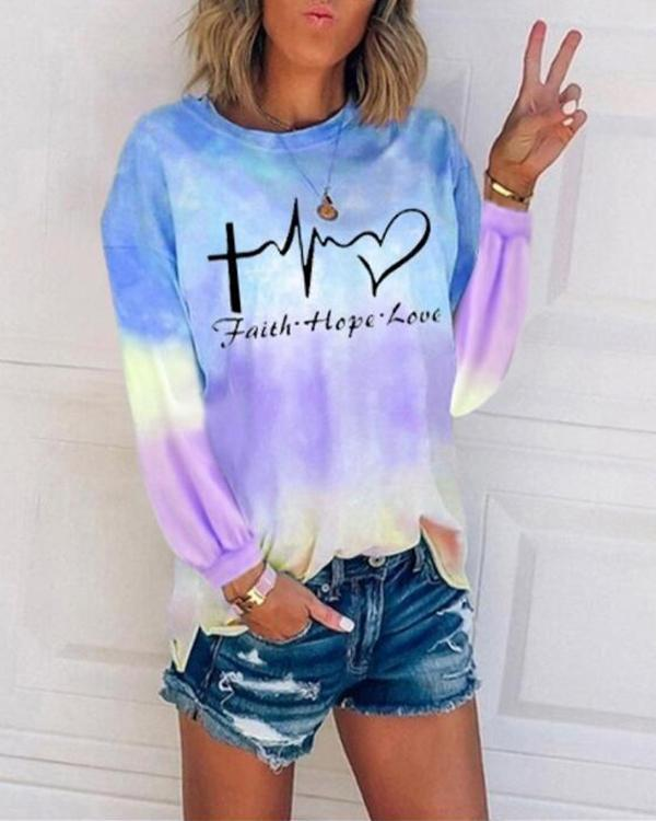 Tie Dye Letter Round Neck Long Sleeve T-shirt