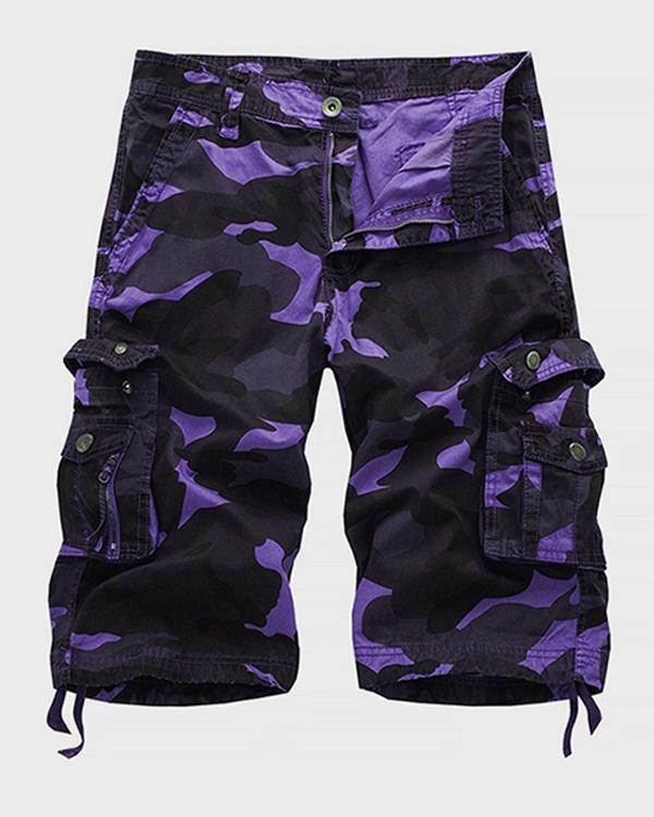 Men's Military Cargo Shorts Summer Camouflage Multi-Pocket Casual Shorts