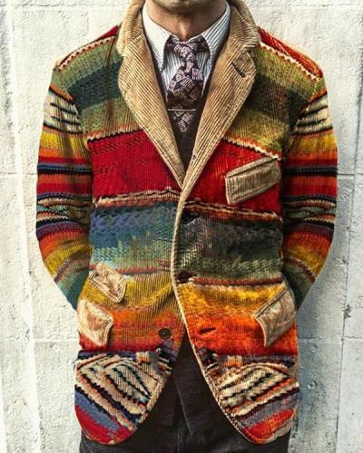 Vintage Rainbow Print Corduroy Jacket