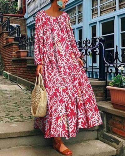 Floral Printed Round Neck Long Sleeve Vintage Dresses