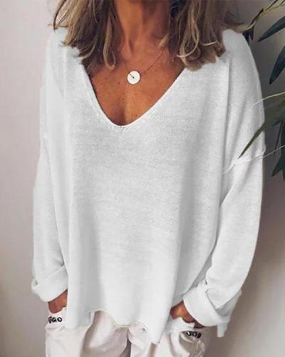 Plus Size Casual Cotton-Blend Long Sleeve Women T-shirts