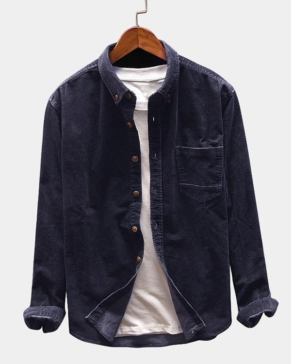 Men Casual Corduroy Loose Long Sleeve Shirt Turndown Collar Jacket Shirts