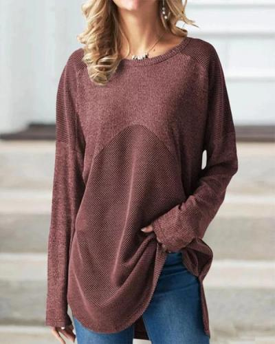 Color-Block Round Neck Cotton Casual Tops Blouses