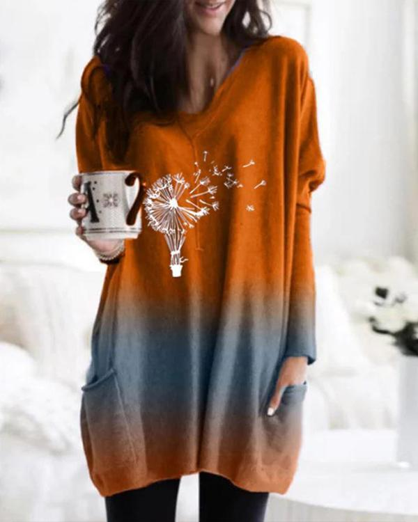 Ombre Print Long Sleeve V Neck Pockets Casual Blouses Tops