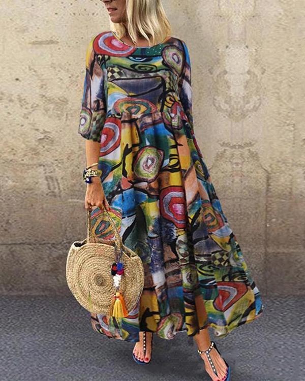 Plus Size Casual Graffiti Tunic Round Neckline A-line Dress