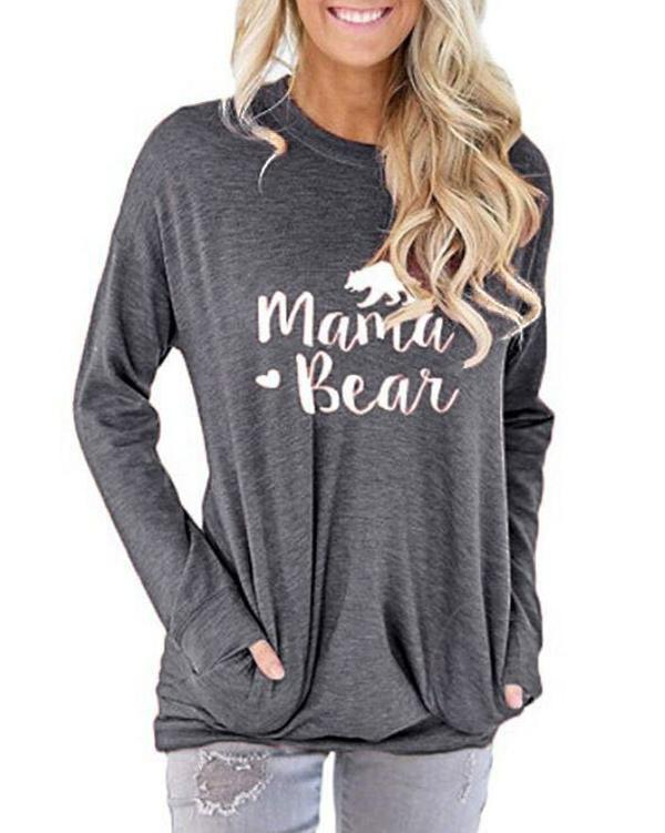 Mama Bear Shirt for Women Long Sleeves Loose Fit Casual Pullover Pocket Blouses