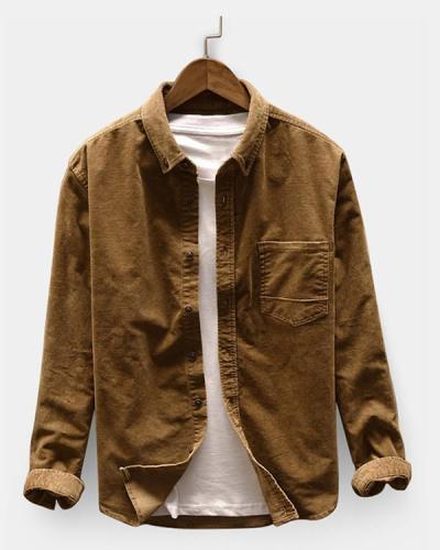 Men Casual Corduroy Loose Long Sleeve Shirt Turndown Collar Jacket Shirts