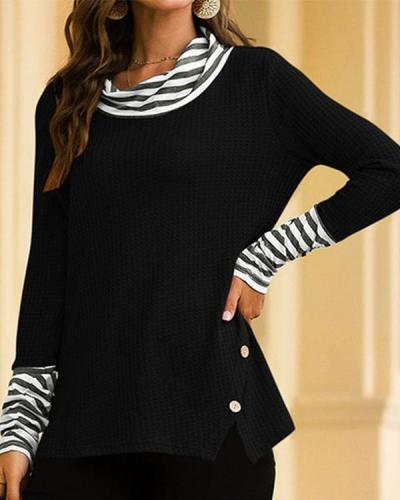 Cowl Neck Color-Block Striped T-Shirts