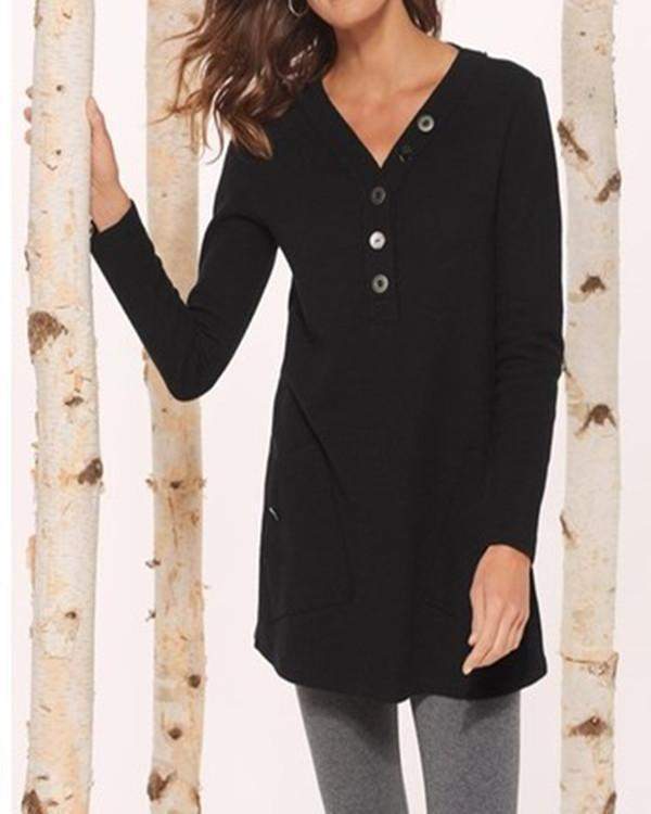 Casual Long Sleeve V Neck Tops Blouses