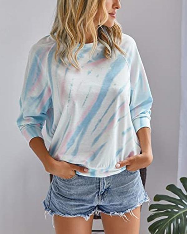 Tie Dye Round Neck Long Sleeve T-shirt