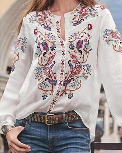 Bohemian Floral Print Casual Shirts Blouses