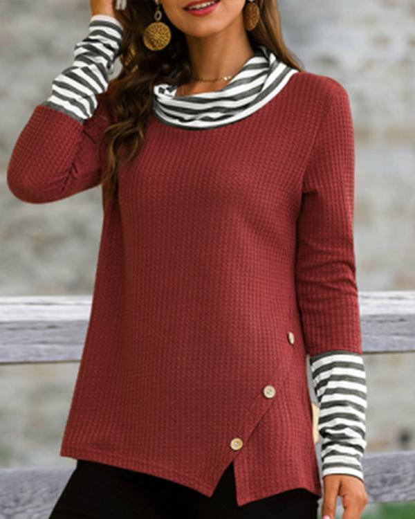 Cowl Neck Color-Block Striped T-Shirts