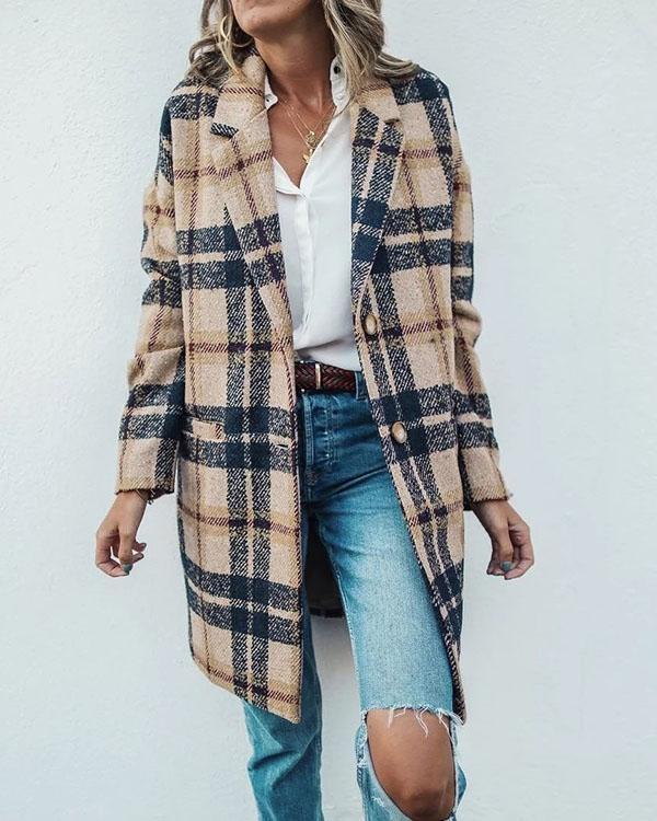 Vintage Lapel Collar Casual Check Wool Coat