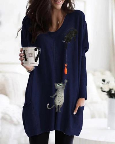 Cartoon Cat Print Pockets Long Sleeve Loose Blouse For Women